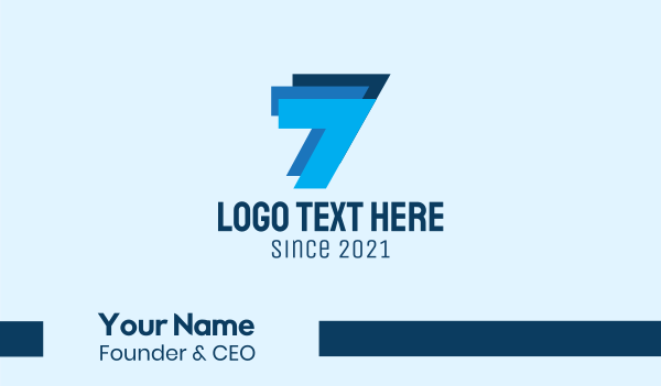 seven - Blue Triple Number 7  Business card horizontal design