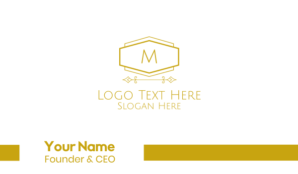 pricey - Golden Luxurious Lettermark Business card horizontal design