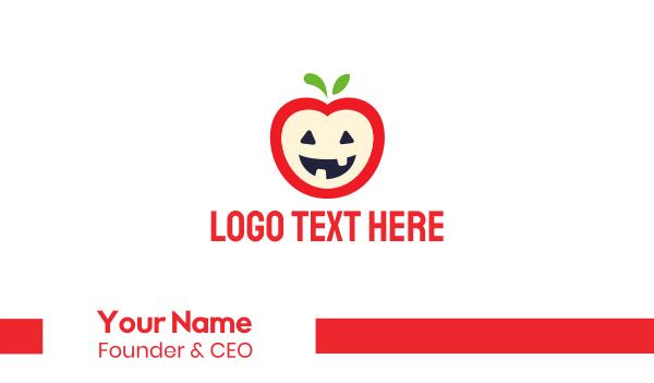 red apple - Halloween Apple Business card horizontal design