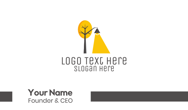 yellow tree - Landscape Tree Lamp Business card horizontal design