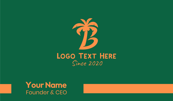 beach resort - Coconut Tree Letter B Business card horizontal design