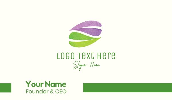 skincare - Watercolor Leaves Business card horizontal design