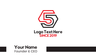 Hexagon Number 5 Outline Business Card