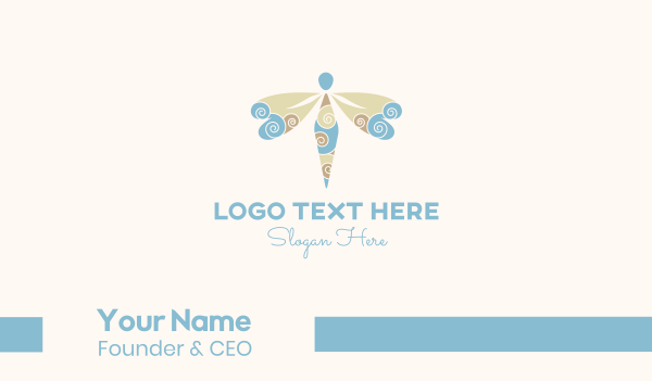 pest - Dragonfly Swirls Business card horizontal design