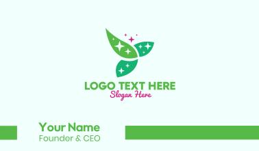 Shining Organic Leaves Business Card