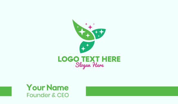 natural therapy - Shining Organic Leaves Business card horizontal design