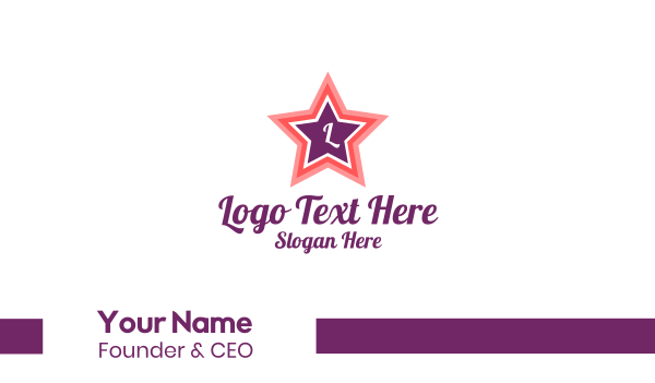 pink girl - Pink Star Lettermark Business card horizontal design
