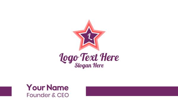 talent - Pink Star Lettermark Business card horizontal design