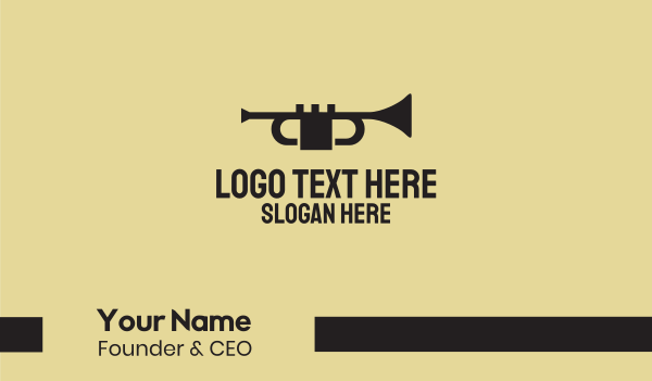 sing - Black Music Trumpet Business card horizontal design
