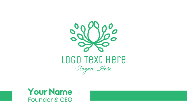 green crown - Green Leaf Crown Business card horizontal design