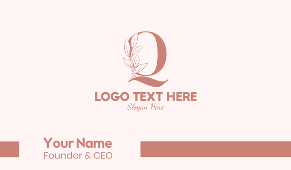 bridal - Elegant Leaves Letter Q Business card horizontal design