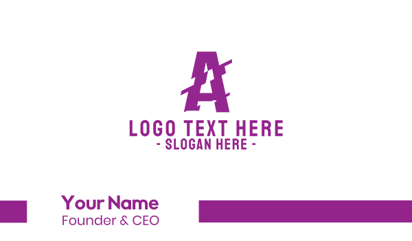 grunge - Distorted Letter A Business card horizontal design