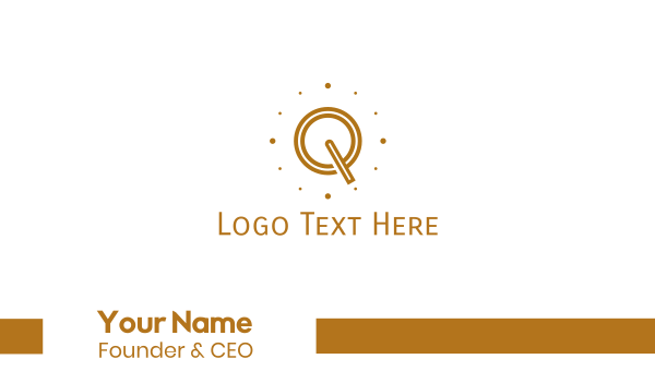 time - Brown Letter Q Business card horizontal design