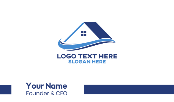 blue house - House Roof Realty  Business card horizontal design