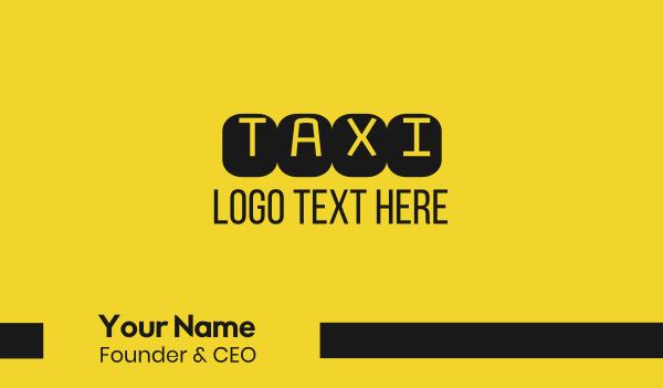 cab - Black & Yellow Taxi Text Business card horizontal design