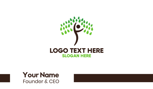 physical fitness - Person Tree Business card horizontal design