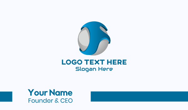 global business - 3D Sphere Letter F Business card horizontal design