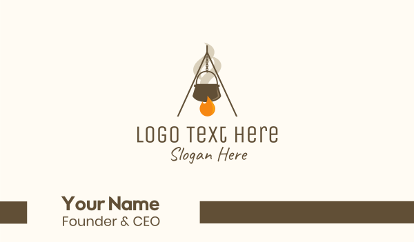 eatery - Campfire Cooking Business card horizontal design