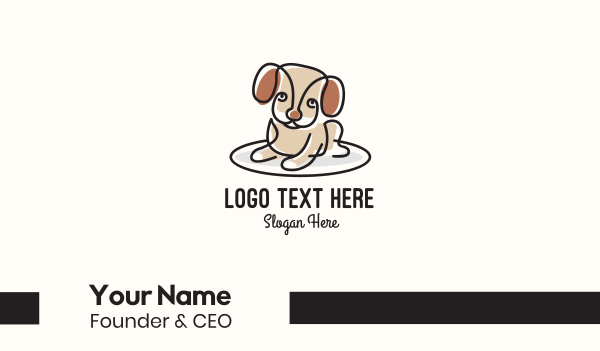 animal welfare - Cute Monoline Puppy Business card horizontal design