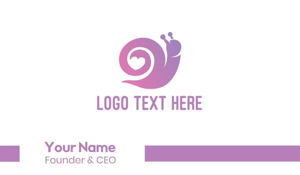 pest - Snail Love Heart Business card horizontal design