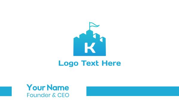 blue flag - Castle Flag Business card horizontal design