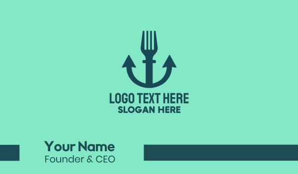 captain - Anchor Seafood Fork Business card horizontal design
