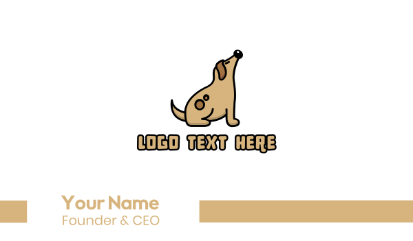 puppy school - Brown Fat Dog Business card horizontal design