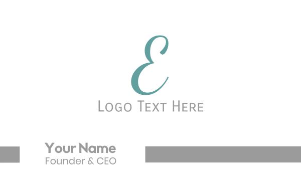 letter e - Elegant Blue Letter E Business card horizontal design