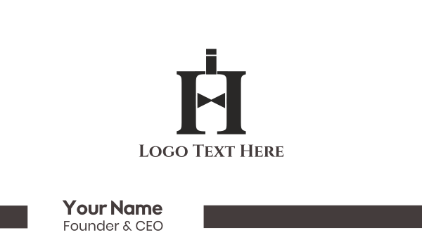 bottle service - Elegant Letter H Business card horizontal design