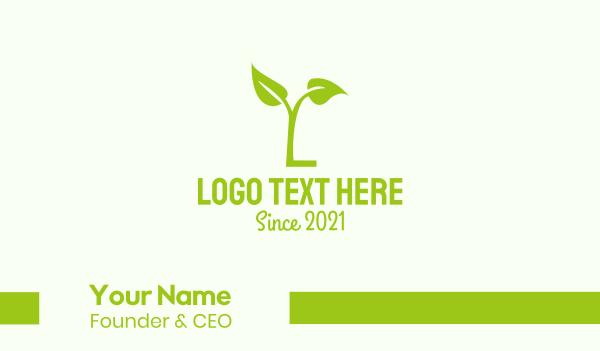 ecosystem - Green Plant Letter L Business card horizontal design