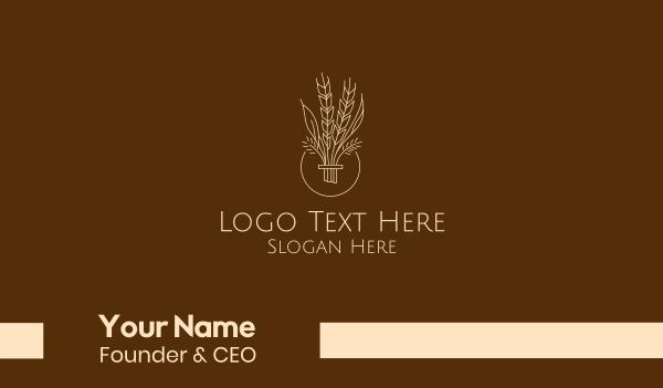 province - Minimalist Wheat Grain  Business card horizontal design