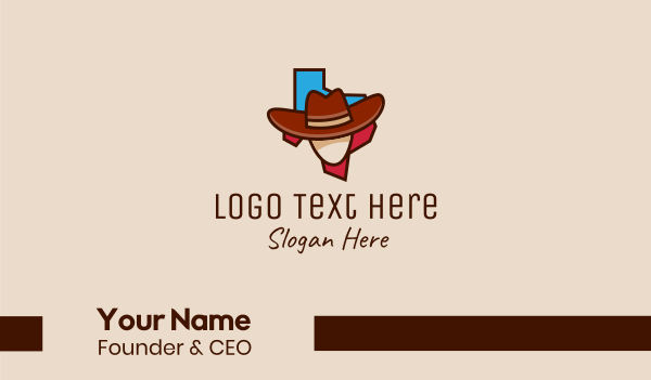 head - Texas Cowboy  Business card horizontal design