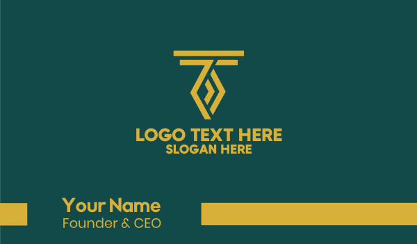 illusion - Golden Letter T Business card horizontal design