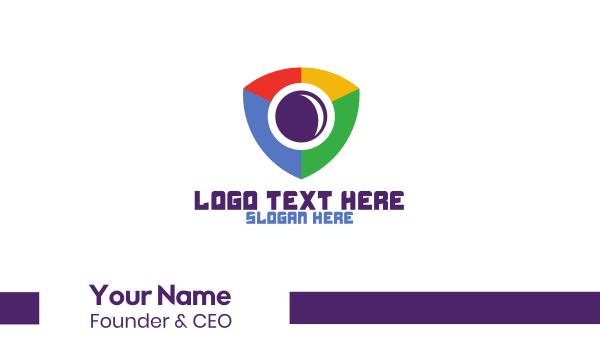hidden cam - Colorful Shield Surveillance Business card horizontal design