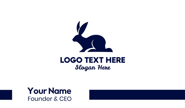 blue bunny - Rabbit Silhouette Business card horizontal design