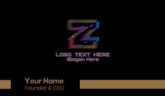 Gradient Glitch Letter Z Business Card