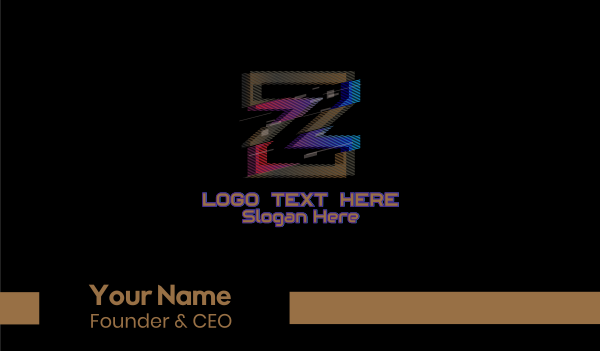 glitchy - Gradient Glitch Letter Z Business card horizontal design