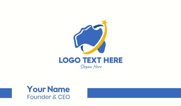 australia - Star Australian Map Business card horizontal design