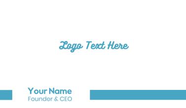 Blue Fresh Script Business Card