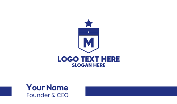 shield - Blue Military Lettermark Business card horizontal design