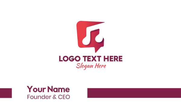 soundcloud - Musical Note Chat Business card horizontal design
