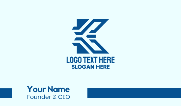 manufacturing - Blue Tech Letter K Business card horizontal design