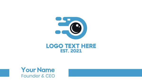 blue camera - Fast Camera Photography Business card horizontal design