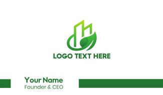 Green Vine Leaf Building Business Card