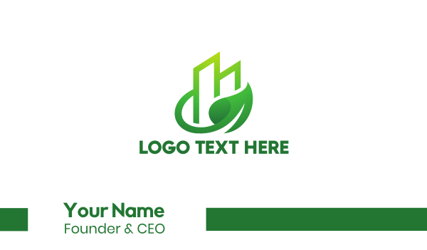 green tower - Green Vine Leaf Building  Business card horizontal design