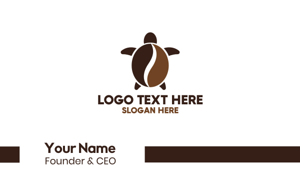 tortoise - Beach Coffee Business card horizontal design
