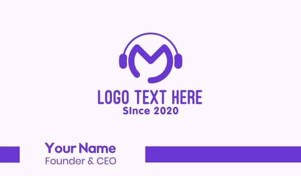 stream - Purple Disc Jockey Letter M Business card horizontal design