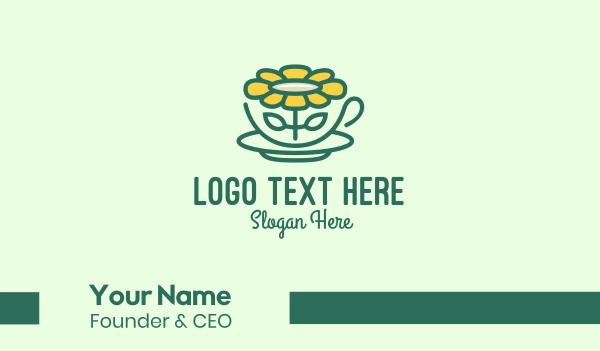 mocha - Sunflower Tea Cup Business card horizontal design