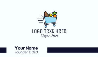 Fast Grocery Shopping Cart Business Card