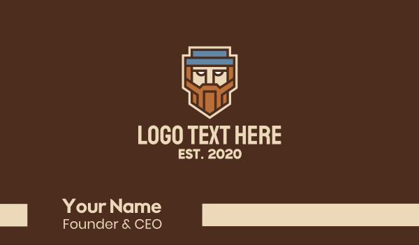 mens salon - Geometric Beard Man  Business card horizontal design